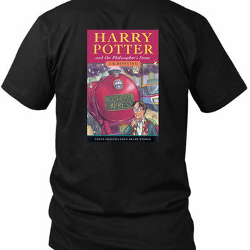Harry Potter And The Philosophers Stone Book Cover 2 Sided Black Mens T Shirt