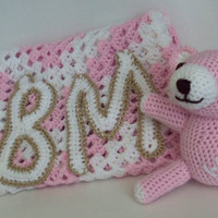 Custom Monogrammed Initials Baby Blanket and Bear Gift Set - Granny Square - Pink and White