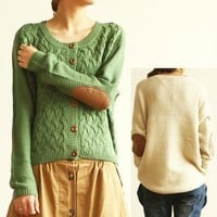 Green Vintage Cross flower Type Sleeve Patch Loose Cardigan Sweater