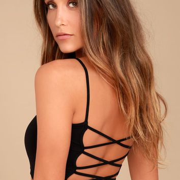 Afternoon Crush Black Strappy Back Bralette