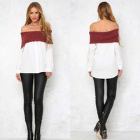 Women's Fashion Winter Stylish Leaf Tops Blouse [9618424527]