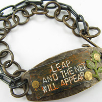 LEAP and the Net WIll Appear , Mixed Metal with riveted flower, dual metal chain Bracelet