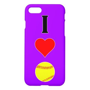 I Love/Heart Softball Pick-A-Color Fastpitch Case