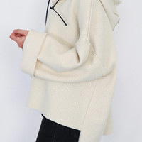 Cream-Colored Hooded Sweater with Lace