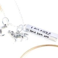Wolf Necklace, I Am A Wolf And You Are My Moon