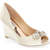 Badgley Mischka 'Dara' Crystal-Encrusted Peep-Toe Wedge (Women) | Nordstrom