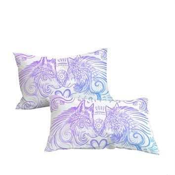 Wolves Heart by SunimaArt Pillowcase Blue and White Pillow Case Feathers Bedding Home Textiles For Couples Pillow Cover 2pcs