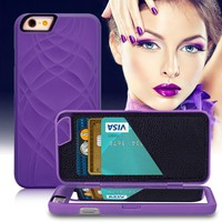 Retro Fashion Lady Card Slot + Mirror + Wallet Flip Case For iPhone 8 8 Plus For iPhone 7 For iPhone 6 6S Plus 3D Water Hard Back PU Leather Cover -171201
