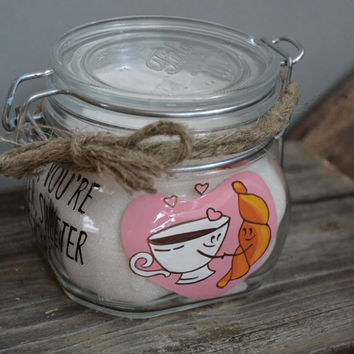 Hand Painted Storage Glass Jar wedding favor gift for lovers in wedding or anniversary love your are sweeter than sugar