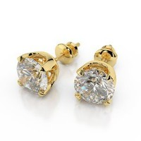 Amazon.com: Diamond Stud Earrings 18K Yellow Gold 1.40 ctw Certified Round Cut 3/4 ct Center Stones F Color VS1 Clarity: Brillianteers: Jewelry