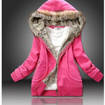 Fashion Women Hoodies Sweater fur & leather Autumn Winter Coat Down Jacket Outerwear = 1932510340