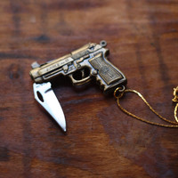 Gun Pocket Knife Necklace Brass Pistol Revolver by contrary