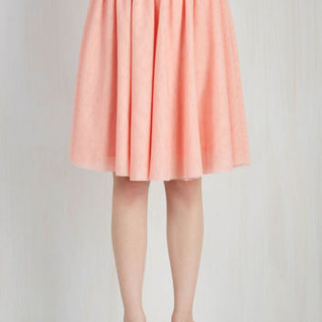 80s Mid-length Full Tulle of the Trade Skirt in Rose