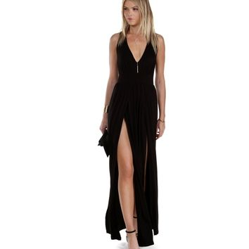 Black Teaser Maxi Dress
