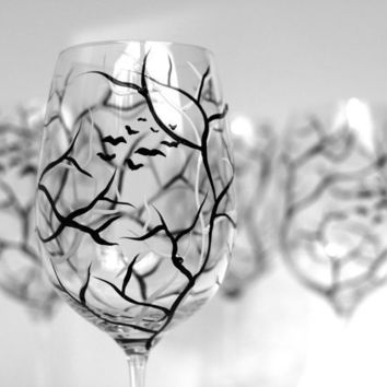 Spooky White and Black Halloween Trees--Set of 2 Hand Painted Wine Glasses