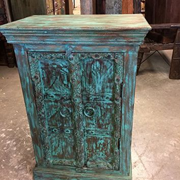 Mogulinterior Antique End Table Blue Distressed Cabinets, Boho Shabby Chic