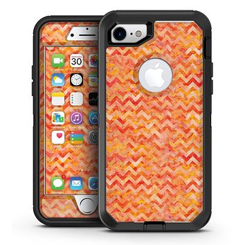 Orange Basic Watercolor Chevron Pattern - iPhone 7 or 7 Plus OtterBox Defender Case Skin Decal Kit