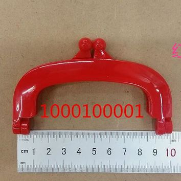 Free Shipping-6PCs Red Colour Bead Purse Bag Plastic Frame Kiss Clasp Lock Handle 10cm DIY Handmade Bag Parts Accessories J2556