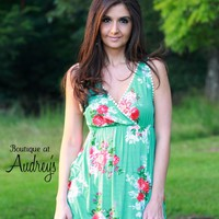Mint Floral Print Sleeveless Top with Lace Detail by P.S. Kate