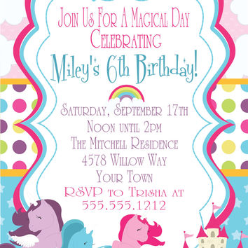 My Little Pony Birthday Party Invitations