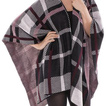 Black Checkered Pattern Ruana Poncho Scarf