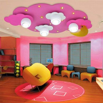 Acrylic rainbow cloud lamp led chandeliers ceiling kids 110V-220V E27 bulb wood led lamp ceiling light lamp ceiling LED lights