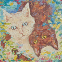 Cats inverted Oil Painting Impasto palette knife Child room Wall decor White Brown cats Picture Custom Pet portrait Animal Pastel colors Art