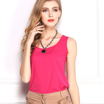Candy Color Chiffon Blouse Tops