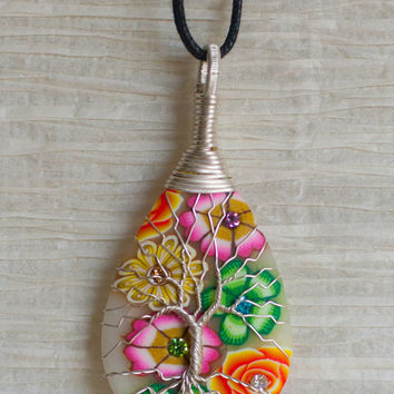Tree of Life Silver colored copper wire wrapped Flowered Clay pendant