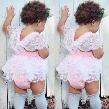 Newborn Baby Girls Lace Romper Bodysuit Sunsuit Summer Kids Clothes Outfits USA