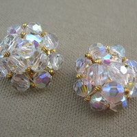 Vintage Cluster Aurora Borealis Clip Earrings