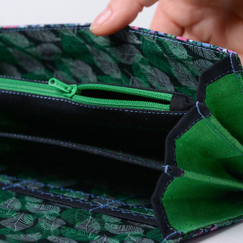Blue and green handmade women's wallet sewn of natural fabric