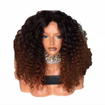 DLME Middle Part Curly Synthetic Lace Front Wig Ombre Brown Wig With Dark Roots 180 Density Heat Resistant Wigs For Black Women