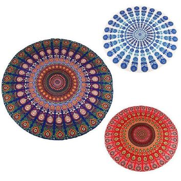 "Indian Mandala Peacock Printed Round Boho Wall hanging Tapestry - 57"" diameter"