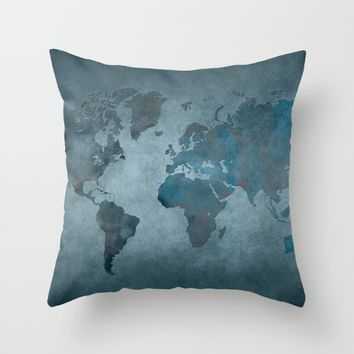 World map 6 blue Throw Pillow by jbjart