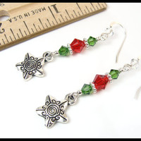 Star Earrings, Christmas Star Earrings, Red Green Crystal Christmas Dangles, Holiday Jewelry, Sparkly Christmas Jewelry, Fun Party Earrings