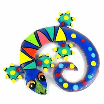 Hand Painted Round Metal Gecko Tropical Design - Caribbean Craft