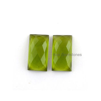 Calibrated Cabochon Loose Gemstone Peridot Quartz Faceted Rectangle 11x20mm AAA Grade, Wholesale Gemstone - 2 Pcs.