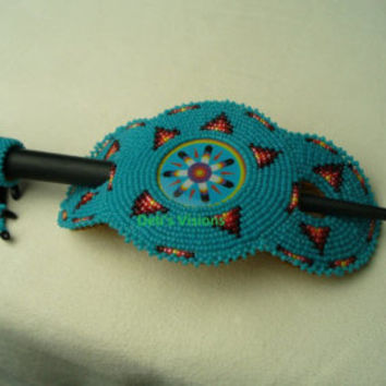 Native American Style Hairstick Barrette in Rosette stitch iin Cerulean and Fire colors