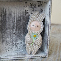 Little Cute Brooch Bunny with a flower