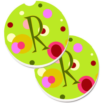 Letter R Monogram - Lime Green Set of 2 Cup Holder Car Coasters CJ1010-RCARC