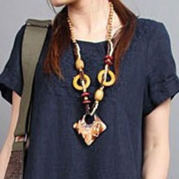 Fashion handmade fine wood long necklace for Women