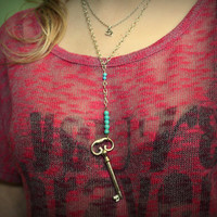 Turquoise Key Necklace // Key Jewelry // Jewellery // Vintage // Rustic Jewelry // Chic // Statement