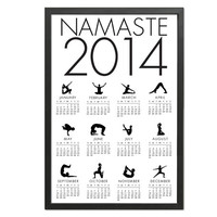2014 Large Namaste Yoga Poses Calendar Black and White - 12x18 Art Print - Monthly Calendar Poster
