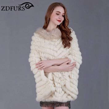 ZDFURS * New Women Fashion Pullover Knitted Genuine Rabbit Fur Raccoon Fur Poncho Cape Real Fur Knit  Wraps Triangle Shawls Coat
