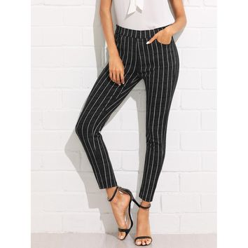 Off To The Races Pinstripe Skinny Jeans  - Black