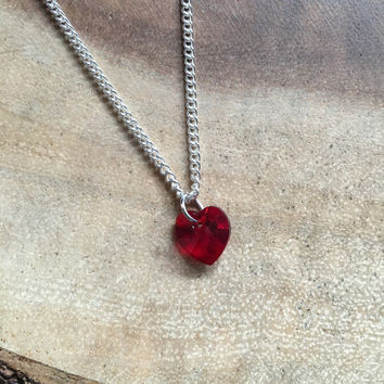 Red Heart Necklace, Red Heart Necklace, Swarovski Necklace, Crystal Heart Necklace, Mothers Day Gift, Gift for Her, Valentines Day Gift