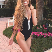ITFABS One Piece Swimsuit Women Chest zipper Swimwear Female Retro Plus Size Swimwear 2017 Vintage Large Bathing Suit Beachwear