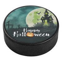 Spooky Haunted House Costume Night Sky Halloween Hockey Puck