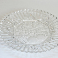 vintage fruit relief glass platter antique plate serving platter retro fruit plate clear glass serving plate  Hors d'oeuvres appetizer plate